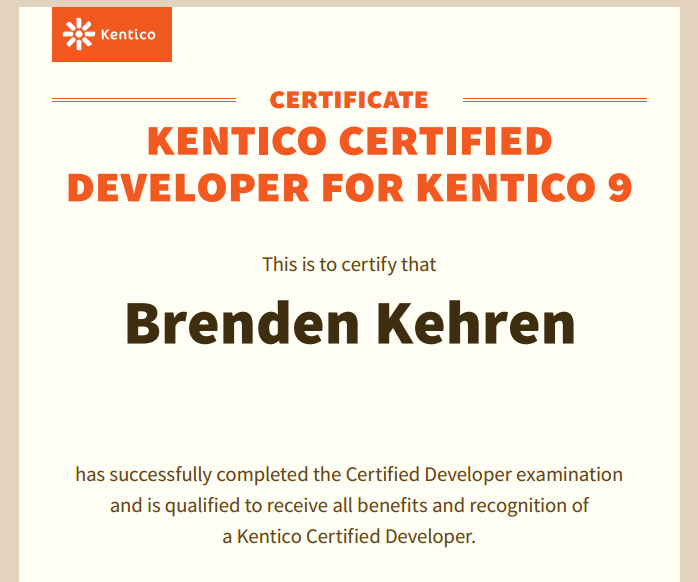 Kentico Certified Developer Brenden Kehren